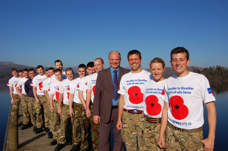 Low Wood Bay General Manager Nevil Geffery with Armed Forces soldiers taking part in the inaugural Karrimor Great Trial Challenge and supporting the Royal British Legion