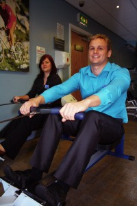 Lynn and Gary from the Restaurant team gearing up for the 24-hour row-a-thon