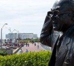 The touch will visit the statue of Eric Morecambe on Morecambe Promenade, coming close to The Midland Hotel.