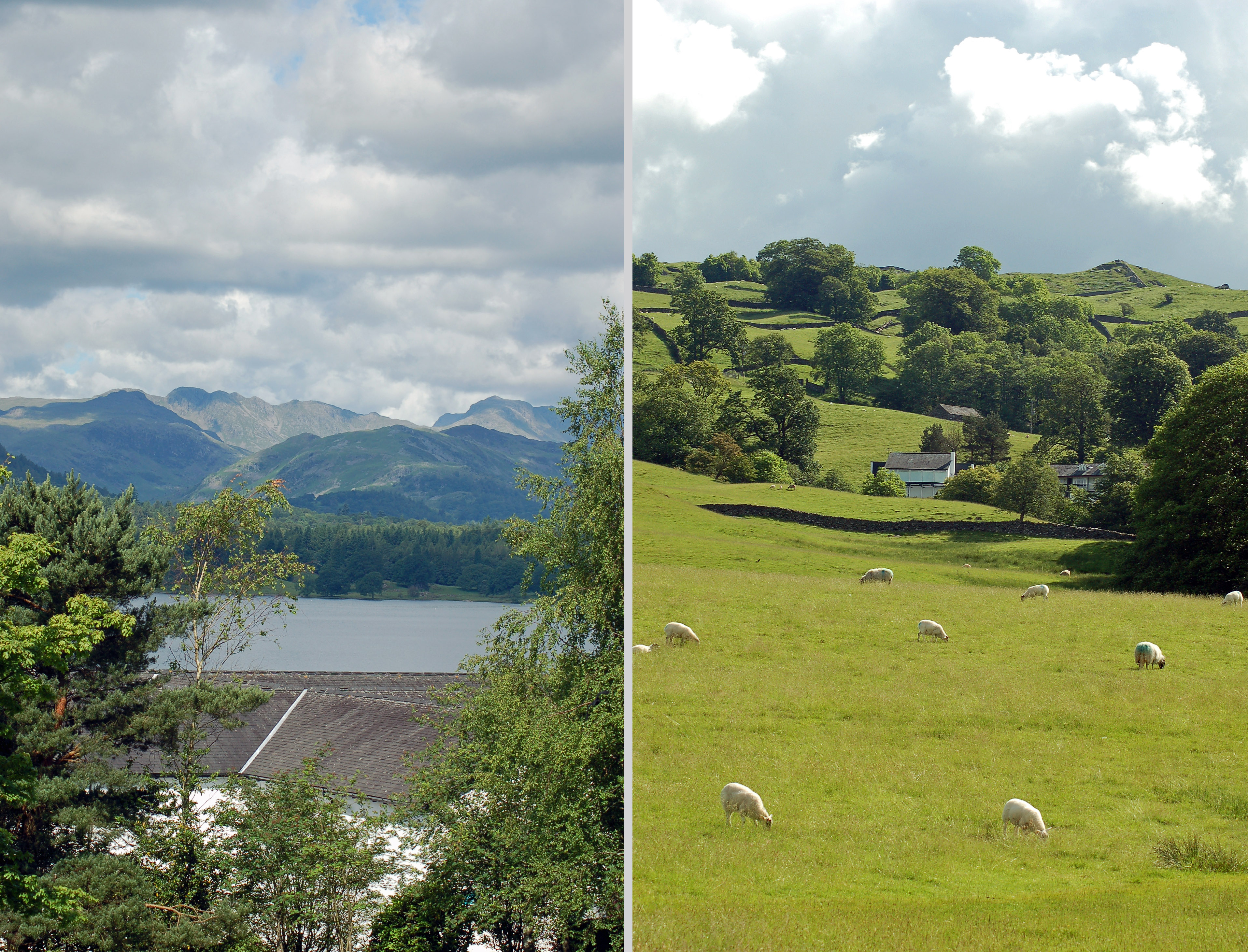 Spectacular views from the English Lakes Offices. Left: View over Low Wood Bay of the Langdale Pikes over Lake Windermere.  Right: Rolling fields behind the hotel and offices.