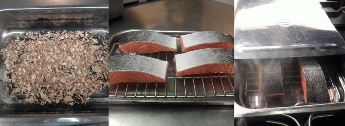 Left to Right: Sawdust in roast tin, Salmon on a raised rack, Salmon smoking on the hob.