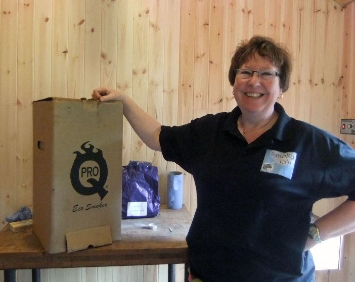 Jo with the cardboard Eco Smoker