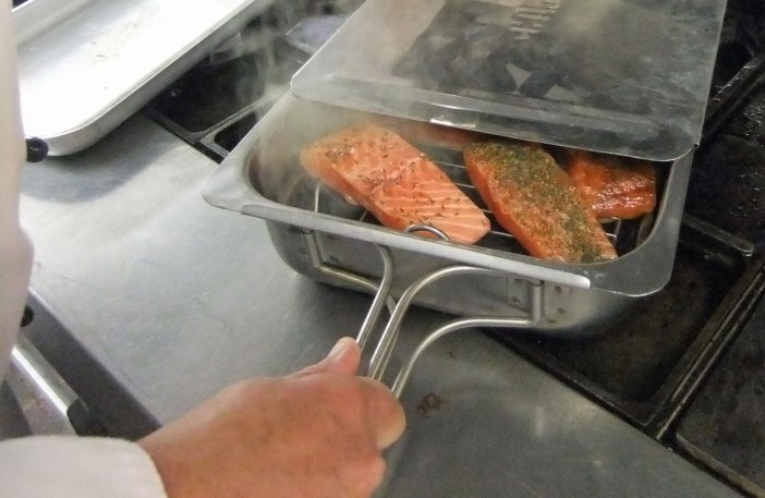 Mark Sanders smoking salmon on the hob