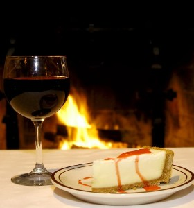 Wine and Cake in front of the fire