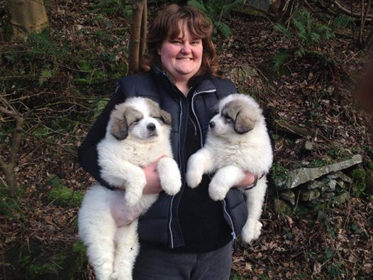 Sandra with her adorable puppies