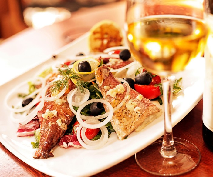 White Pinot Grigio or the red Montepulciano, perfect with meats and fishes