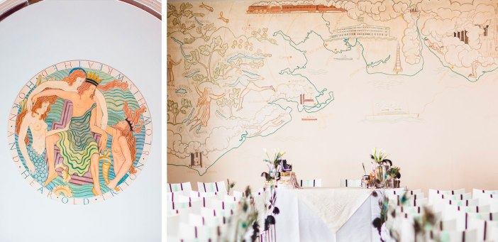 Eric Gill's Art Left: Ceiling medallion. Right: Map of the North West (Photo Credit: Tobiah Tayo)