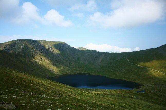 Red Tarn - a classic Glacial Corrie Tarn nestling in the shadows of Helvellyn Summit