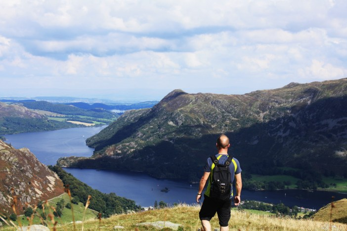 Views over Lake Ullswater from the lower slopes of Birkhouse Moor, en-route to Helvellyn