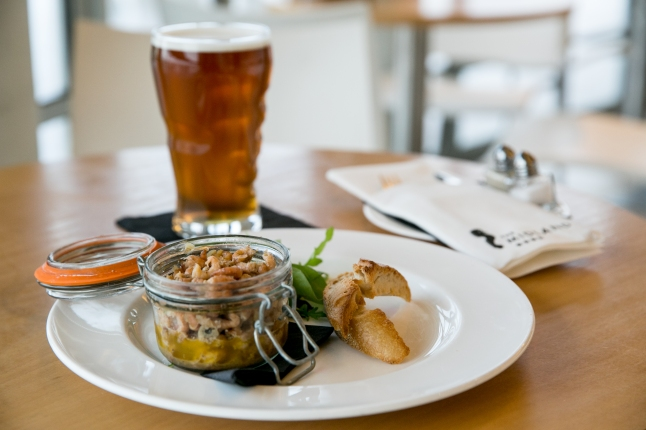 Frank Benson's Morecambe Bay Shrimps served with toasted gluten free bread. In the picture you can see a beer - We now a stock a gluten free beer: Organic Celia Premium Czech Lager.