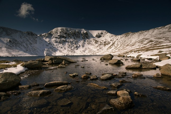 Helvellyn, although beautiful covered in snow the mountain too dangerous to tackle with winter conditions