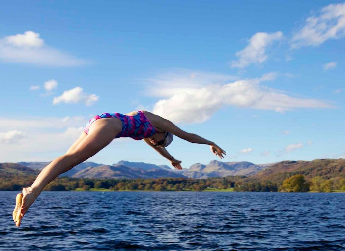 Taking the plunge in Windermere at Low Wood Bay