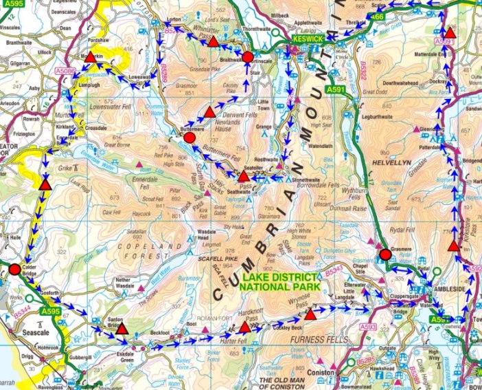 The Route Map ( Credit: Fred Whitton Challenge)