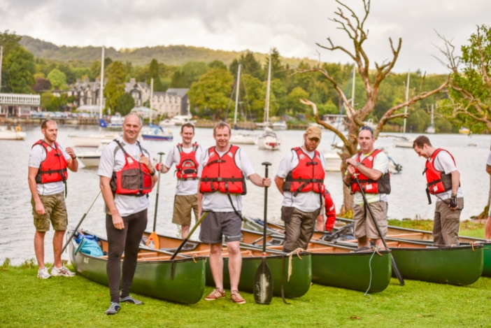 Sir Steve and the Gleeds team getting ready to take to the water for their Charity Challenge