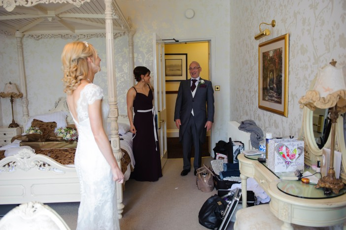 Mel seeing Sam in her weddding dress for the first time