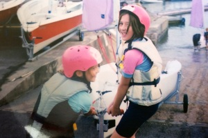 A young Katie, 'mucking around on boats'