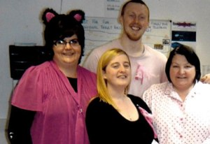 Maria and the CRS team dressed up for a Wear it Pink Charity Day
