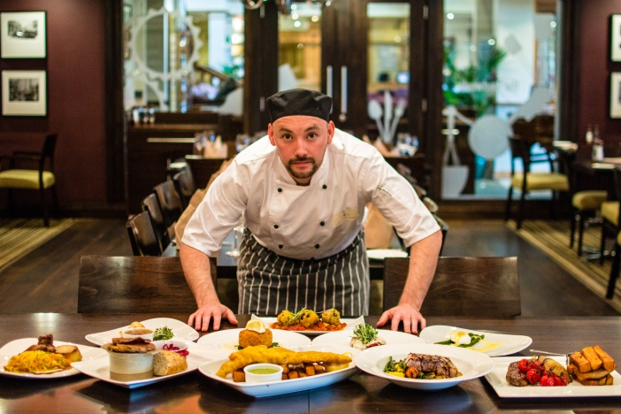 Head Chef, Damien, with a selection of dishes from the Lancaster House kitchen